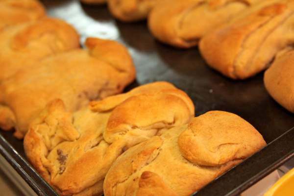 ground beef and cream cheese in crescent rolls