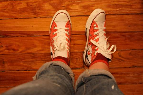 red beatles converses