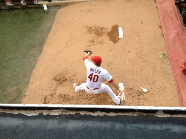 shelby miller pitching in bullpen
