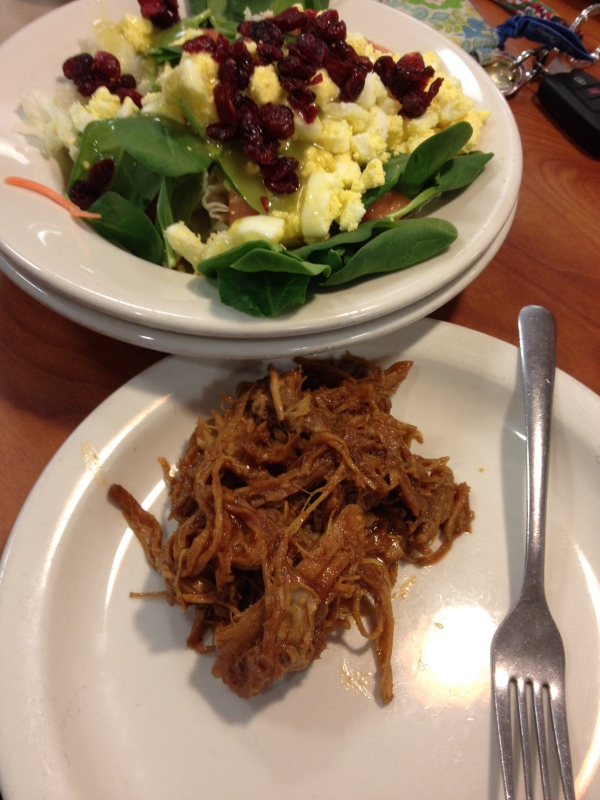pulled pork and salad